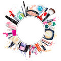 Frame Of Various Watercolor Decorative Cosmetic. Makeup Products Royalty Free Stock Photo - 69331685