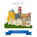 Sintra City In Portugal Europe Flat Vector Attraction Landmark Royalty Free Stock Images - 69347479