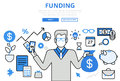 Funding Investor Financial Concept Flat Line Art Vector Icons Royalty Free Stock Photography - 69347817