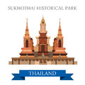 Sukhothai Historical Park In Thailand Vector Flat Attraction Stock Image - 69348621