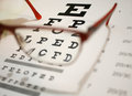 Eyeglasses And Eye Chart Close-up On A Light Background Stock Photo - 69353950