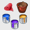 Three Color Interior Paint, Tissue Roll And Pot Royalty Free Stock Photos - 69354508