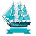 Old Blue Wooden Historical Boat On White. Sailing Boat With Sails, Mast, Brown Deck, Guns. Stock Images - 69362754