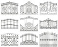 Forged Gates Set.  Decorative Metal Gates With Swirls, Arrows And Ornaments Royalty Free Stock Photo - 69362935