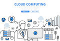 Cloud Computing Upload Concept Flat Line Art Vector Icons Royalty Free Stock Images - 69372119