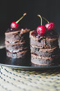Brownie Cakes With Cherry Jam Royalty Free Stock Images - 69372159