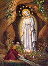 ROME, ITALY: Appearance Of Virgin To St. Bernadette In Lourdes By Unknown Artist, In Church Chiesa Di Santa Maria In Aquiro Stock Photography - 69377092
