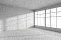 Empty Spotted Concrete Room Corner With Windows Interior Royalty Free Stock Image - 69385946