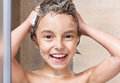 Little Girl Washing Head In Shower Royalty Free Stock Images - 69395999