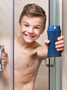Teen Boy Takes A Shower In The Bathroom Stock Photo - 69396050
