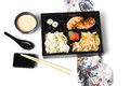 Japanese Meal In A Box Bento Isolated On White Background Royalty Free Stock Image - 69396156