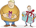 Big Guy With Small Present And Thin With Huge One Royalty Free Stock Photo - 6941485