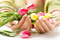 Beautiful Hands With Bunch Of Tulips Stock Photo - 6944040