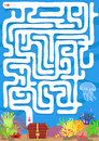 Vector Maze Game With Find Treasure Underwater Stock Images - 69409384