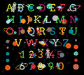Vector Space Alphabet With All 8 Planets And The Sun Stock Photos - 69416173