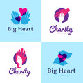 Vector Set Of Clean Charity Center Logos. Hospital Logos With Hands And Heart Stock Photos - 69426743