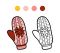 Coloring Book For Children, Knitted Mitten With Flower Royalty Free Stock Images - 69440759