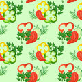 Seamless Pattern With Watercolor Red, Yellow, Green Pepper Rings, Tomatoes, Cucumbers And Greens Stock Photo - 69443010