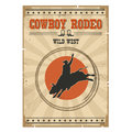 Cowboy Wild Bull Rodeo Poster.Western Vintage Illustration With Royalty Free Stock Images - 69470219