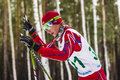 Closeup Of Girl Skier In Woods Royalty Free Stock Photos - 69473148