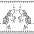 Two Elephants Standing Up With Seamless Line Lace Borders In Ethnic Mehndi Indian Henna Style. Stock Photos - 69473723