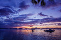 Sunset With Boat. Philippines Stock Image - 69491061