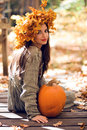 Girl With A Pumpkin Royalty Free Stock Image - 6950086