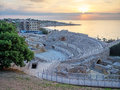 Roman Amphitheater And Mediterranean Sea At Sunset In Tarragona Stock Photos - 69507093