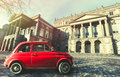 Vintage Old Classic Italian Red Car. Osgoode Hall, Historic Building. Toronto, Canada Stock Images - 69511704