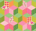 Beautiful Summer Patchwork Pattern. Seamless Background In Pink And Green Tones. Royalty Free Stock Photography - 69514377