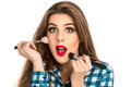 Close Up Portrait Of Fun Makeup Artist Woman In Studio With Brus Stock Photography - 69515652