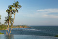 View From Infinity Edge Pool To Ocean And Palms Stock Photo - 69521690