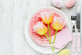 Easter Table Setting With Holiday Decor Colorful Eggs Tulip Blan Royalty Free Stock Photo - 69536005