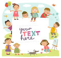 Background For An Inscription With Cute Children Playing Royalty Free Stock Images - 69563699