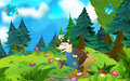 Cartoon Fairy Tale Scene With Wolf Stock Images - 69564384