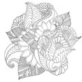 Hand Drawn Artistic Ethnic Ornamental Patterned Floral Frame. Royalty Free Stock Photos - 69567648