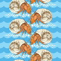 Seamless Pattern With Hermit Crab In The Round Shell On The Background With Blue Waves And Pebbles In White. Royalty Free Stock Photo - 69569205
