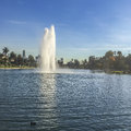 Fountain And Echo Park Lake View, Royalty Free Stock Photos - 69597298