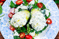 Avocado Halves Stuffed With Cottage Cheese And Vegetables Stock Photos - 69611703