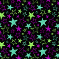 Brush Drawn Textured Neon Stars Seamless Vector Pattern Royalty Free Stock Images - 69619519