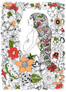 Vector Illustration Zentangl Pregnant Woman In A Flower Frame Stock Image - 69622791