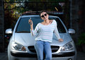 Girl With Car Key Stock Image - 69632821