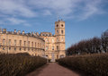 Gatchina Palace.  View Of The Palace And The Clock Tower From The Alley Of The Private Garden. Stock Image - 69635561
