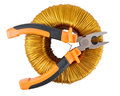 Pliers And Voltage Toroidal Transformer Stock Photos - 69645263