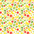 Vector Seamless Background Of Lemon, Orange, Lime, Grapefruit, Kiwi Slices And Bananas. Multivitamin Fruits. Royalty Free Stock Images - 69650619