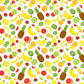 Multivitamin Seamless Background With Whole Pineapple, Fresh Green Kiwi Slices, Strawberries, Citrus Fruits And Bananas. Royalty Free Stock Images - 69650879