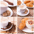 Cup Of Coffee, Sweets, Croissant And Roasted Beans. Coffee Concept. Stock Photos - 69651113
