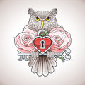 Beautiful Colour Tattoo Design Of An Owl Holding A Key With A Heart Locket And Pink Roses Stock Image - 69669111