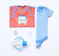 Top View Fashion Trendy Look Of Baby Boy Clothes And Stuff Stock Image - 69675601