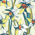 Floral Flower Narcissus Seamless Hand Drawn Pattern.Colored Ink Stock Photography - 69678132